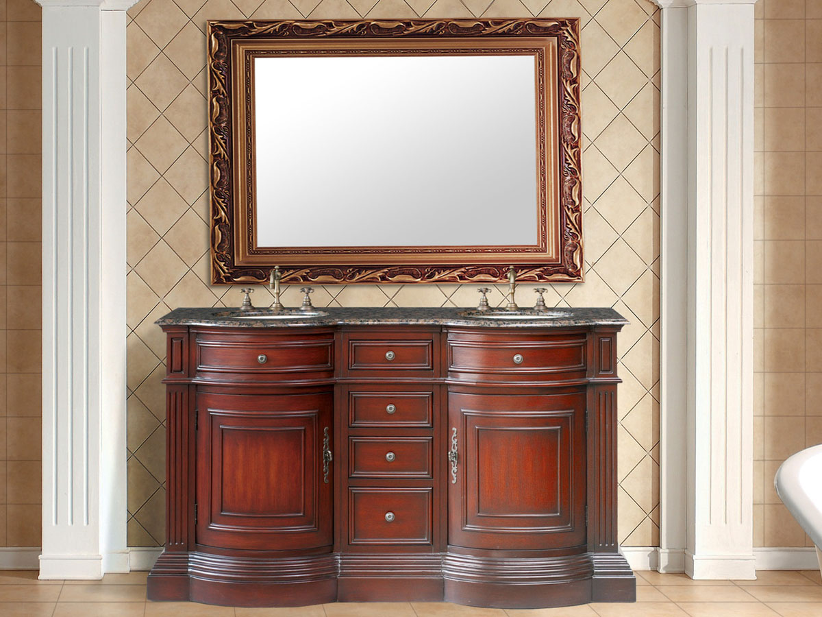 "62"" Catherine Double Sink Vanity - with Baltic Brown Granite Top"