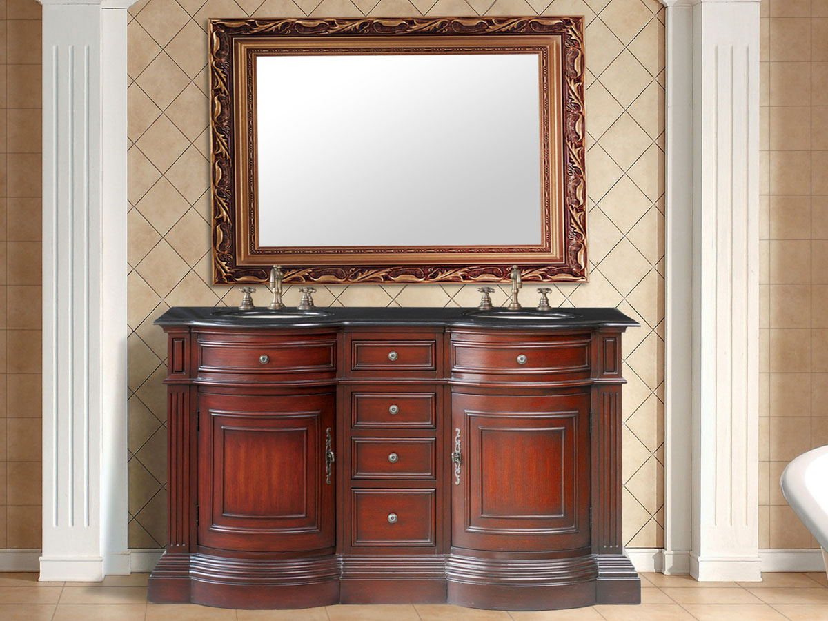 "62"" Catherine Double Sink Vanity - with Black Galaxy Granite Top"