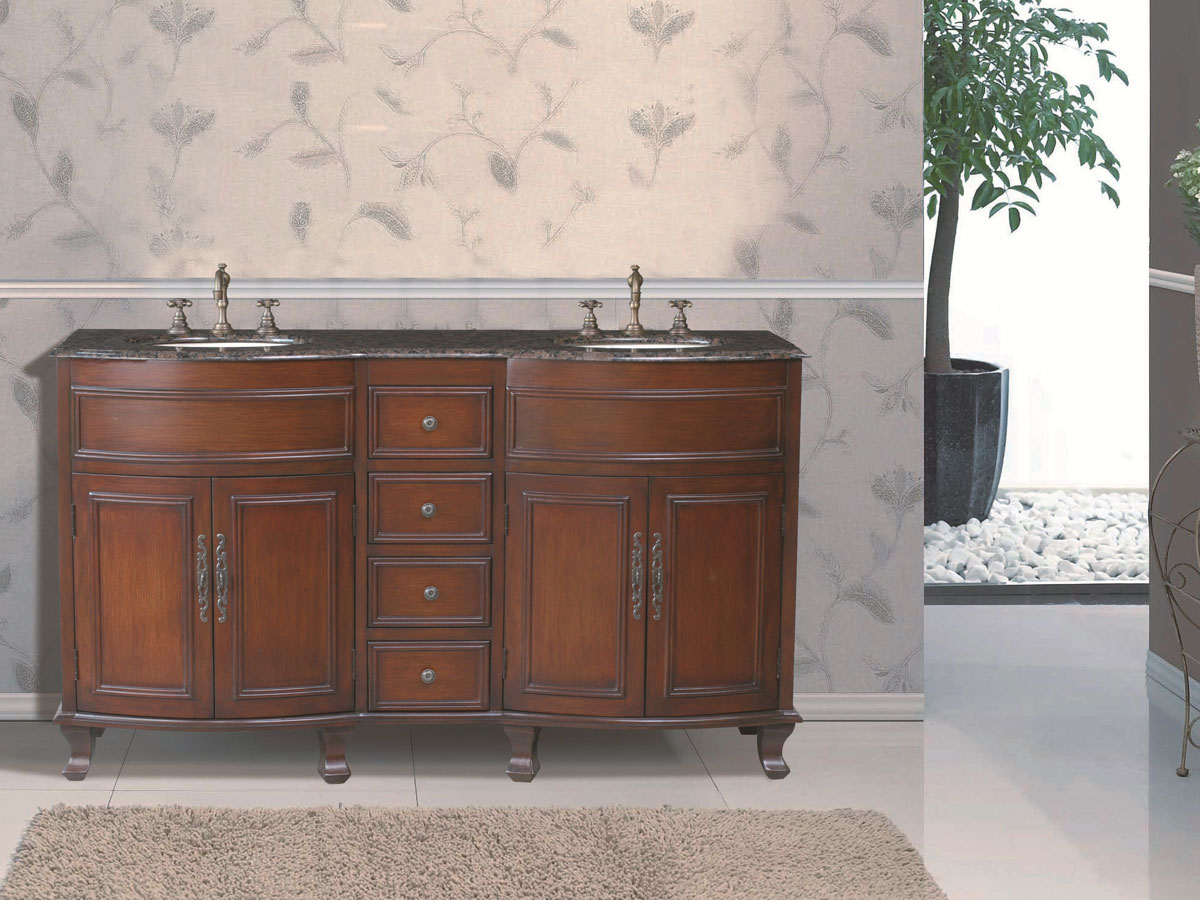 "62"" Winslow Double Sink Vanity - with Baltic Brown Granite Top"