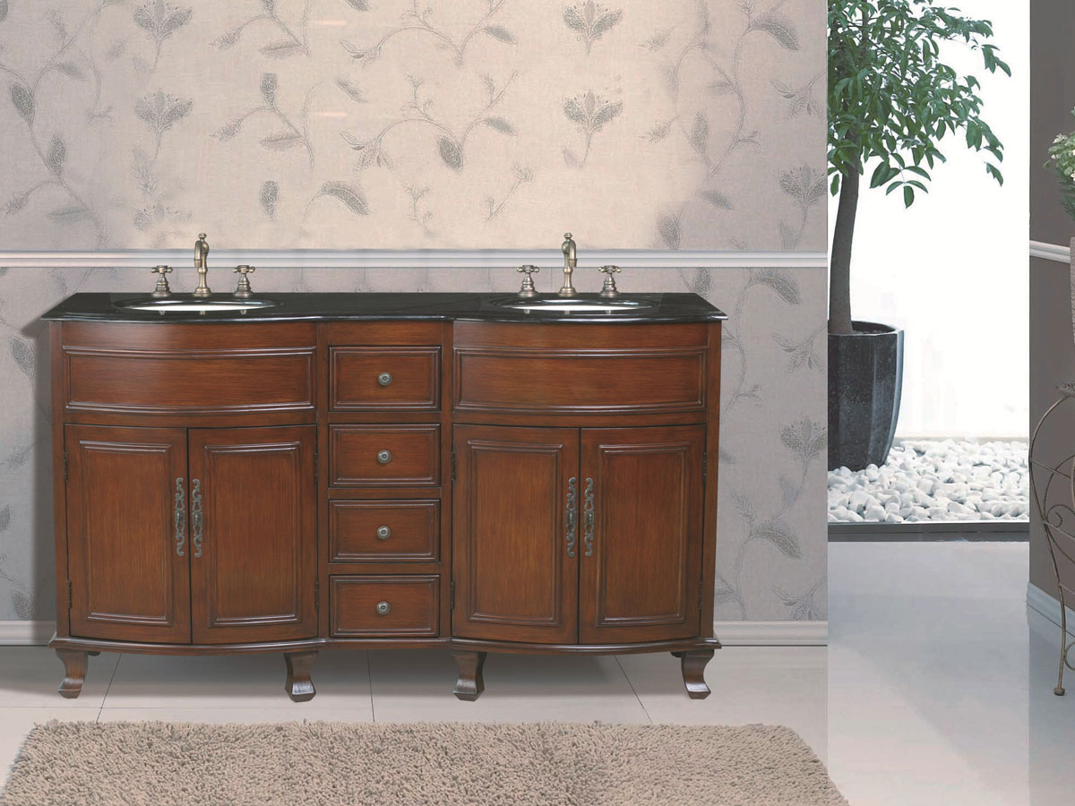 "62"" Winslow Double Sink Vanity - with Black Galaxy Granite Top"