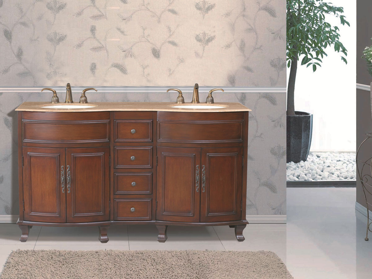 "62"" Winslow Double Sink Vanity - with Travertine Marble Top"