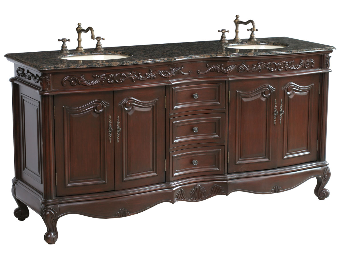 Cherry Finish - with intricate detailing all along cabinet