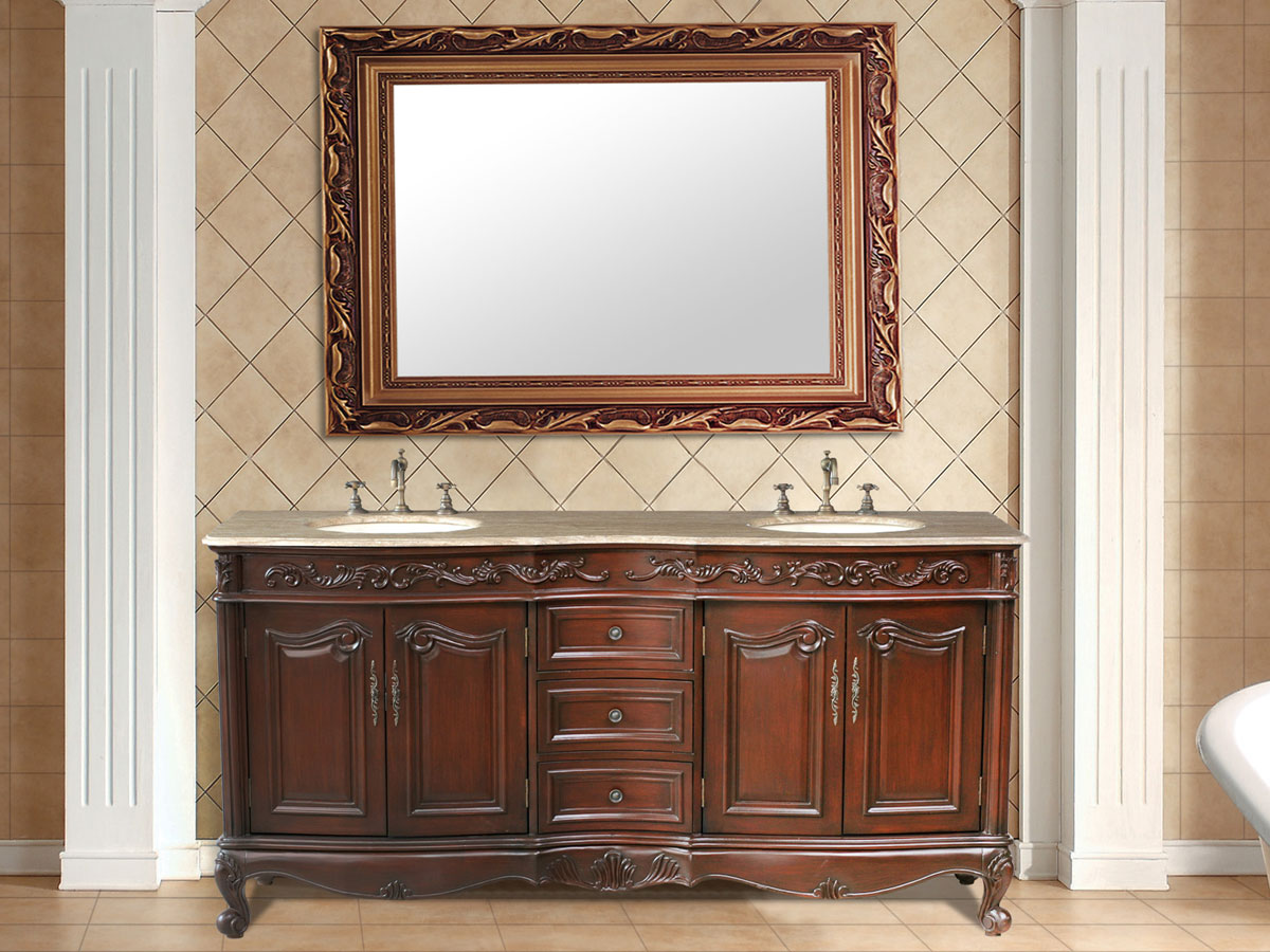 """72"""" Saturn Double Sink Vanity - with Travertine Marble Top"""
