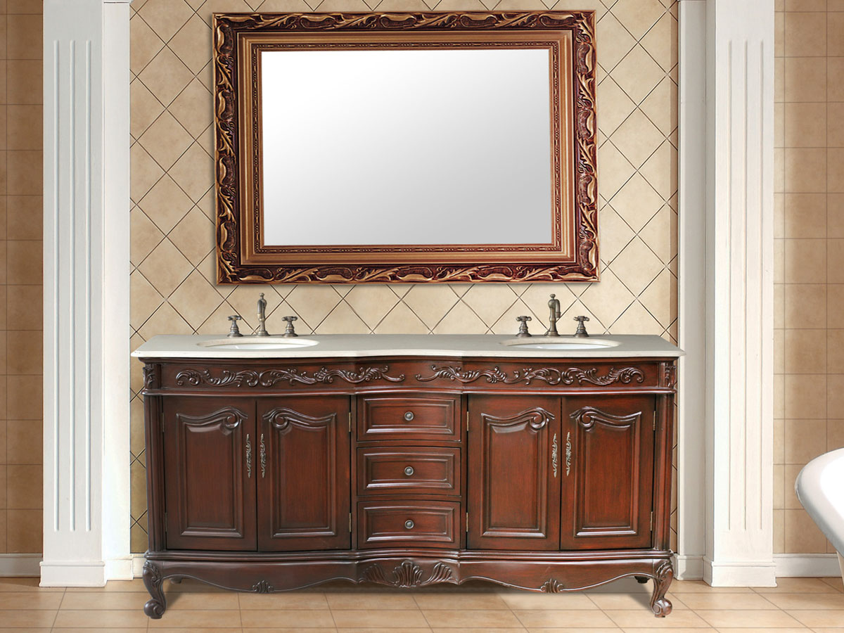 """72"""" Saturn Double Sink Vanity - with Cream Marfil Marble Top"""