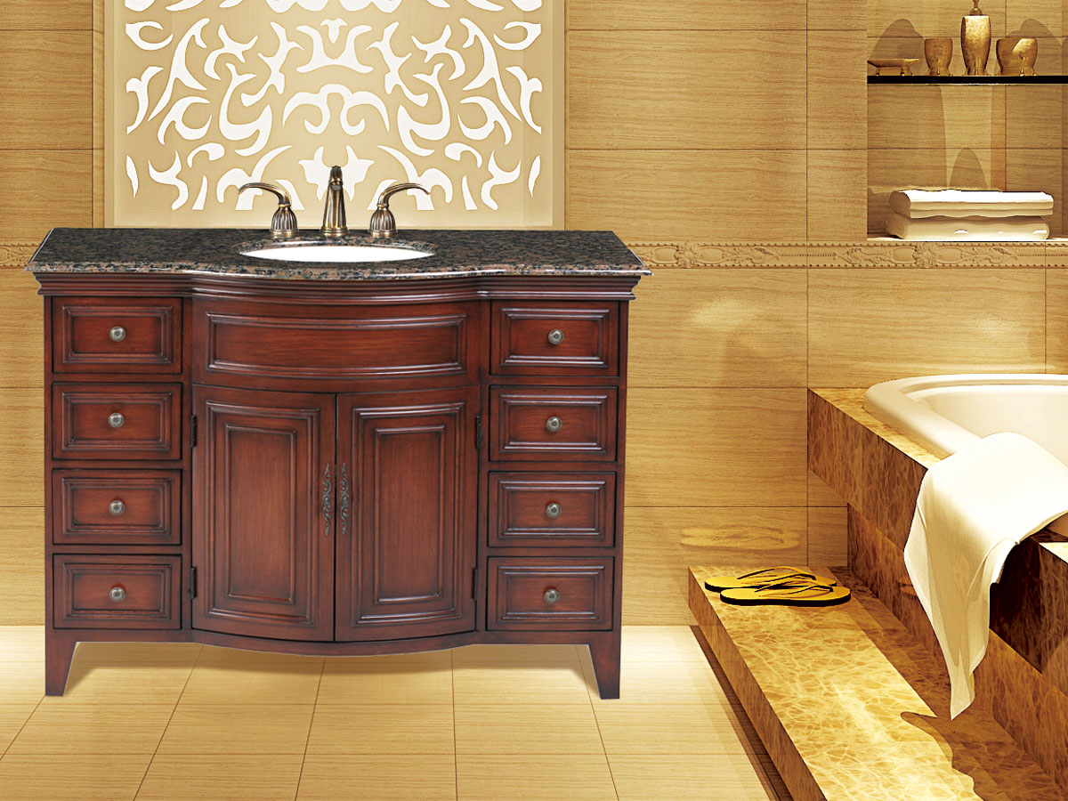 "48"" Yorktown Single Bath Vanity - with Baltic Brown Granite Top"