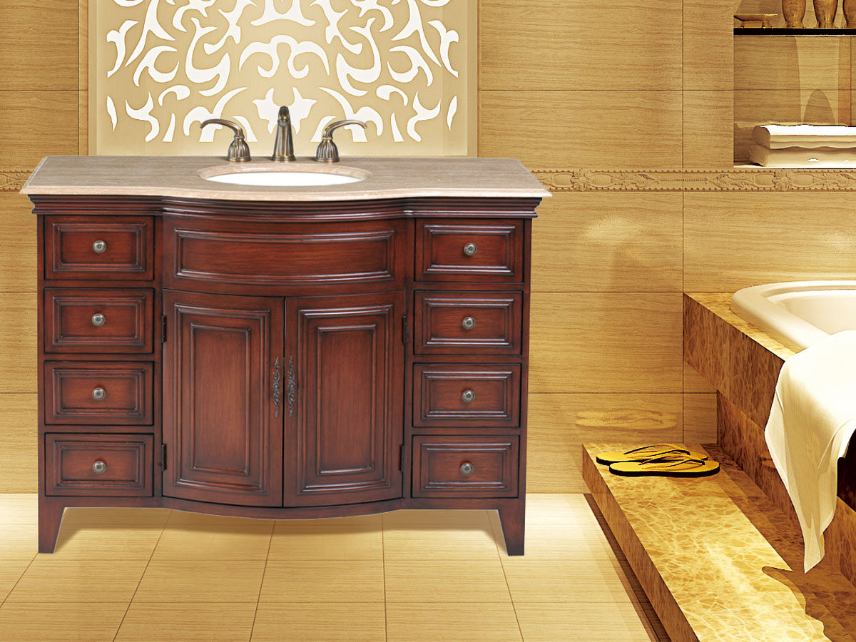 "48"" Yorktown Single Bath Vanity - with Travertine Marble Top"