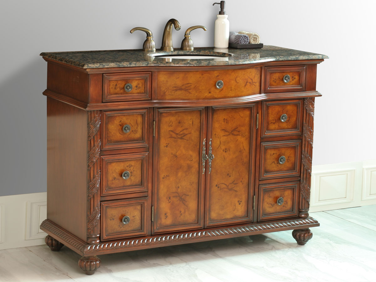 "48"" Amelia Single Bath Vanity - with Baltic Brown Top"