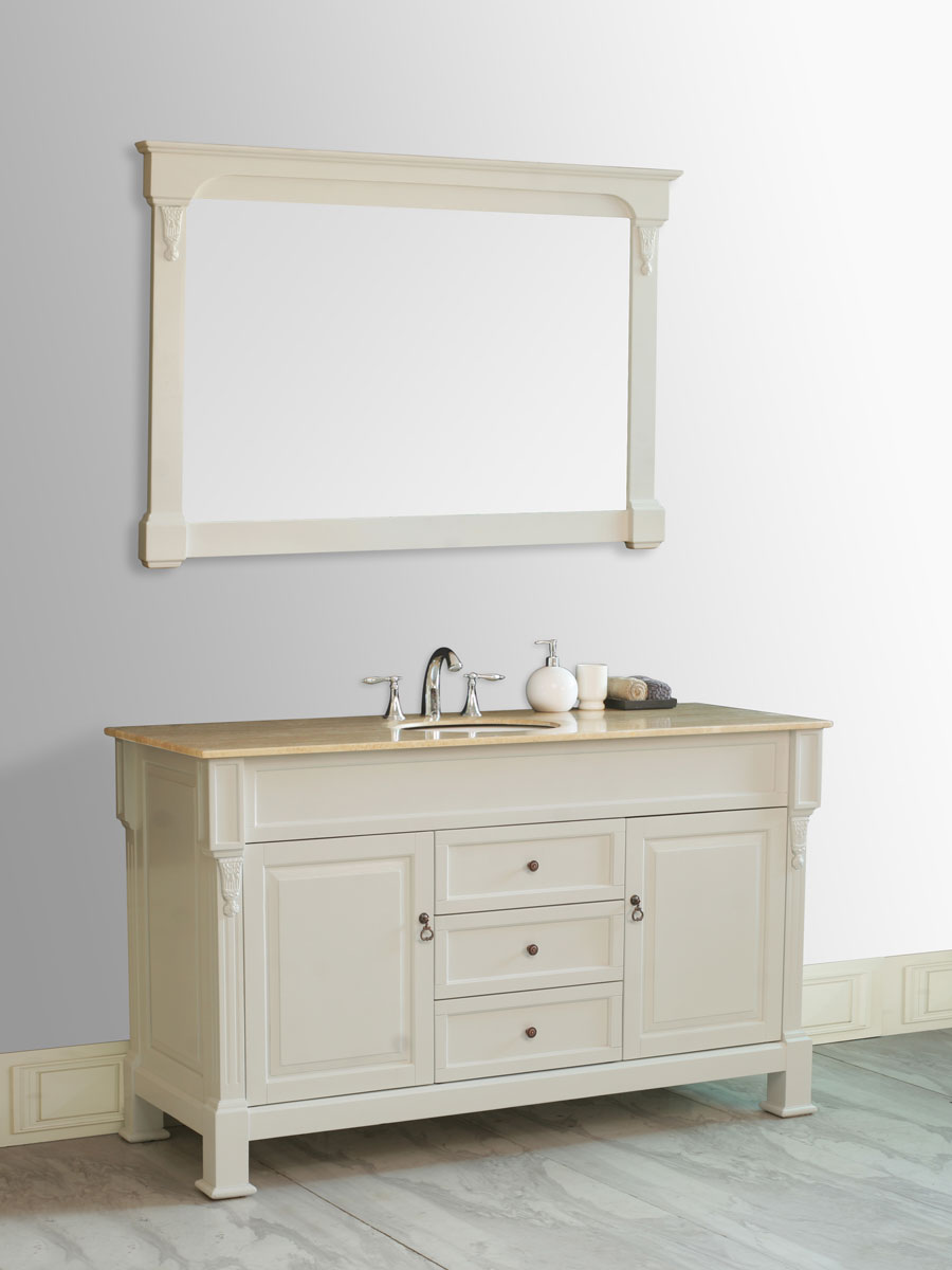 "60"" Galaxy Single Bath Vanity - shown with Travertine Marble Top"