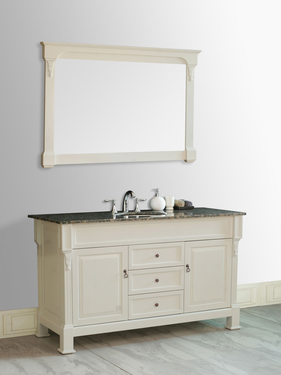 "60"" Galaxy Single Bath Vanity - with Baltic Brown Granite Top"