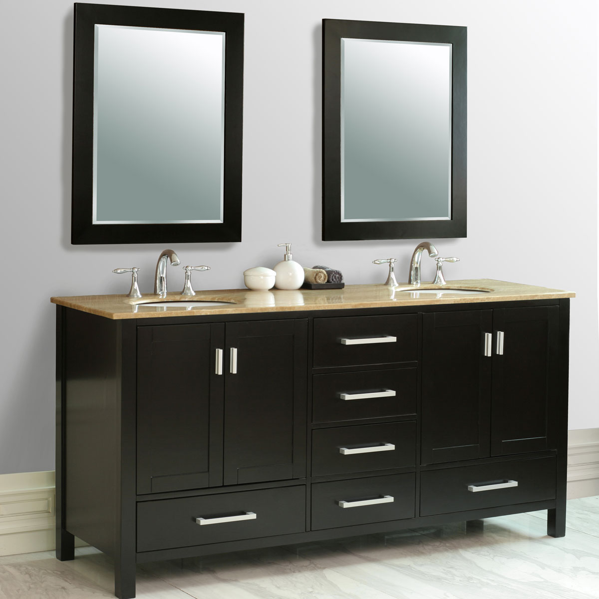 "72"" Malibu Double Vanity - with Travertine Marble Top"
