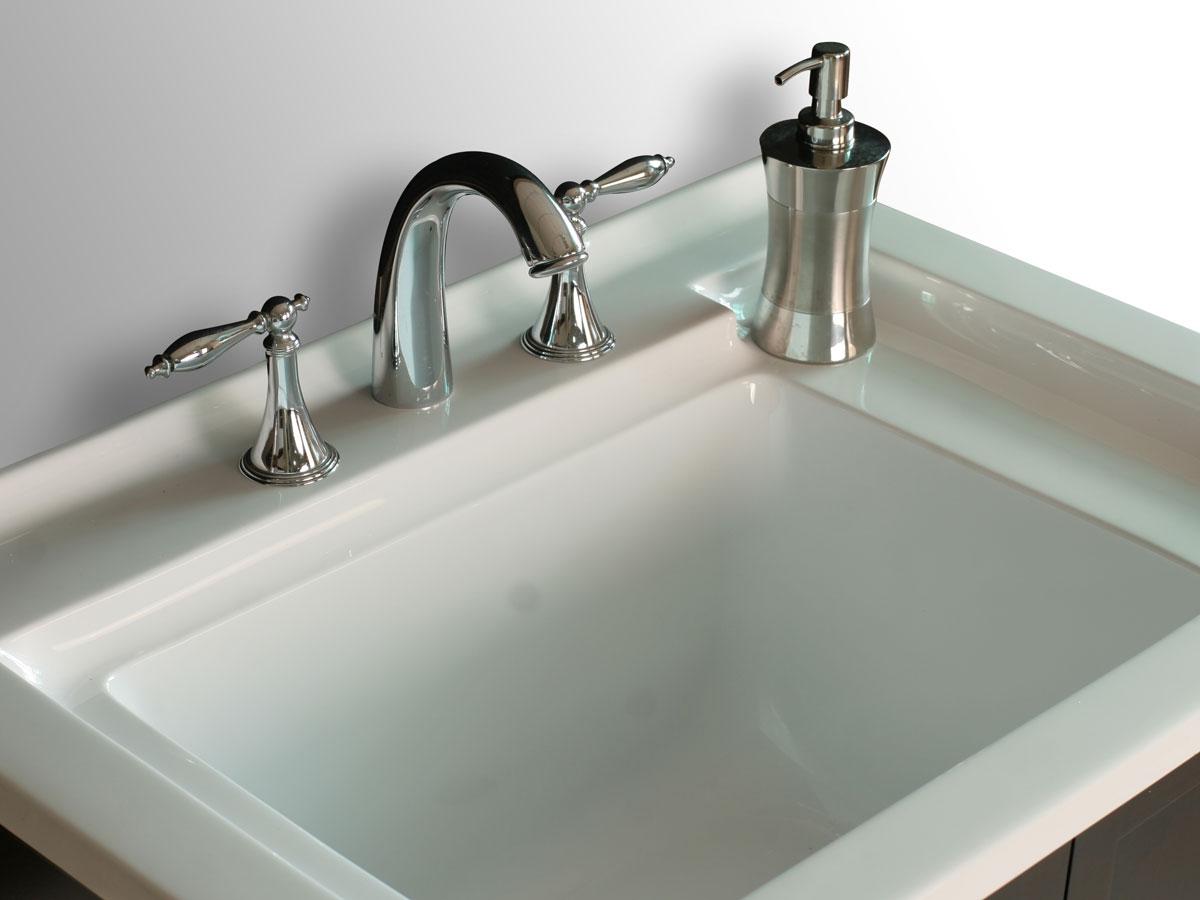 Porcelain integrated sink top
