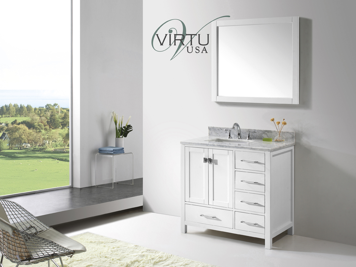 "37"" Caroline Avenue Single Vanity - with Square Sink"