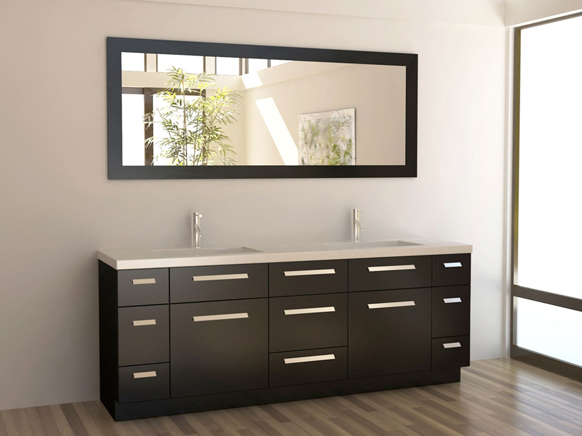 "Bathroom Vanities Brands 84"" moscony double sink vanity - espresso - bathgems"
