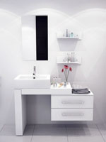 "33.5"" to 57"" Scorpio Single Vessel Sink Vanity - White"