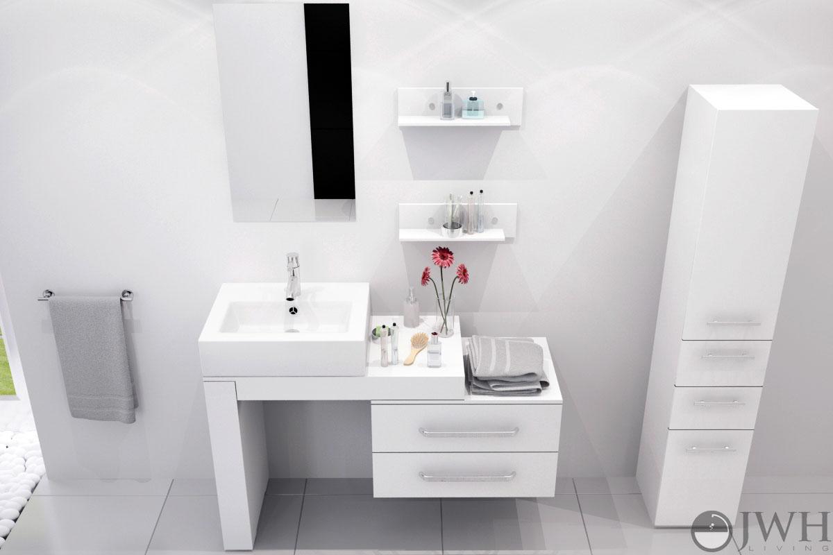 "33.5"" to 57"" Scorpio Single Vessel Sink Vanity - White"