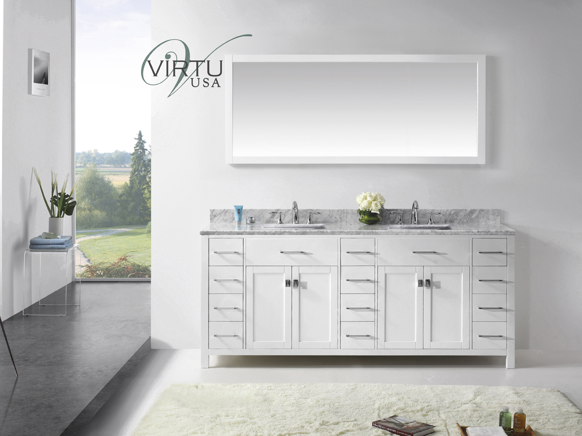 "79"" Caroline Parkway Double Vanity - with Square Sinks"