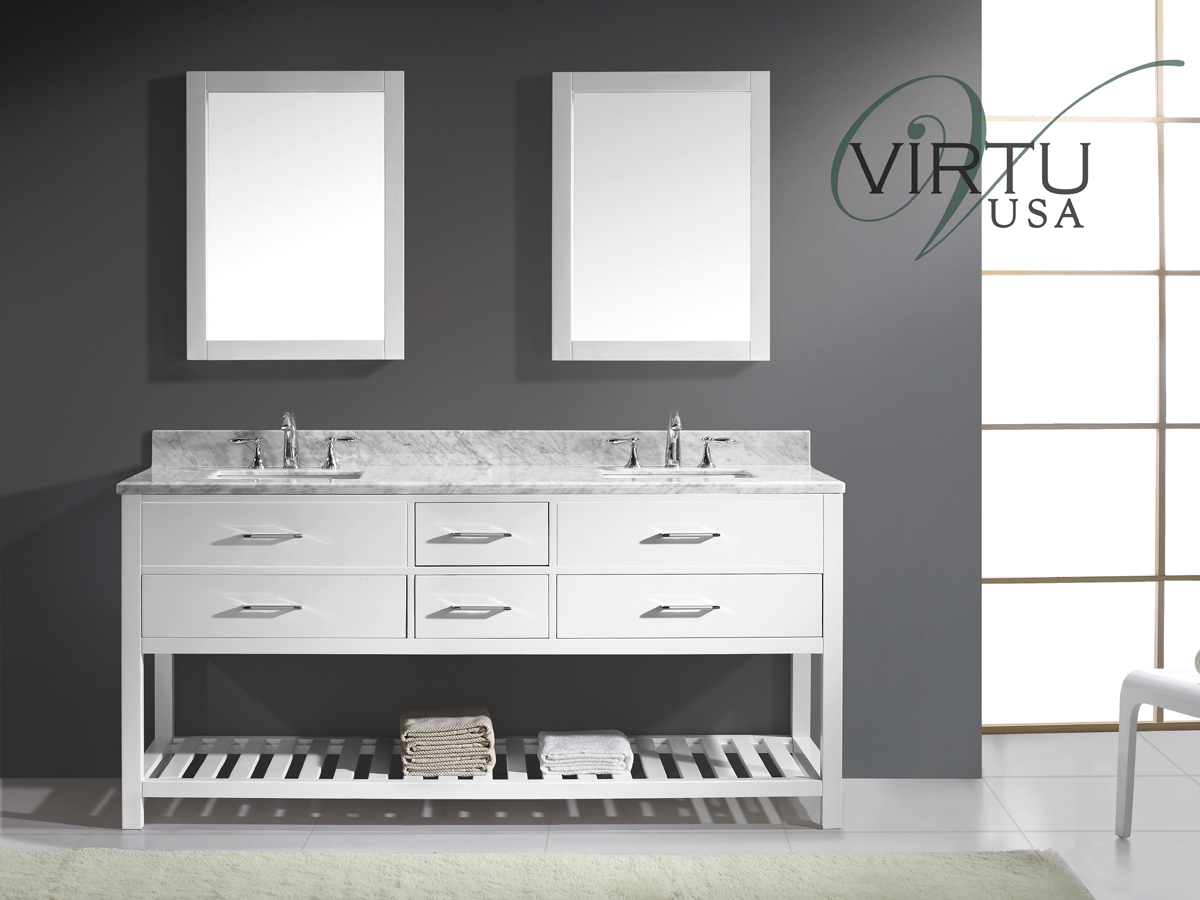"73"" Caroline Estate Double Vanity - with Square Sinks"