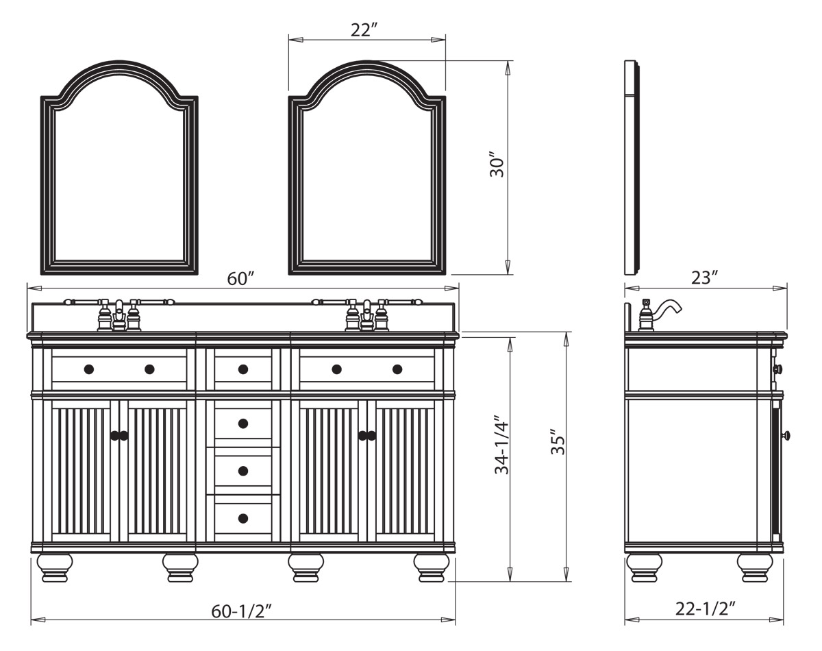 "Double Bathroom Vanity Measurements 60.5"" venice double sink vanity - walnut - bathgems"