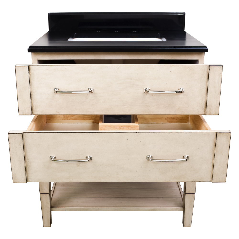 Two Functional Drawers And Towel Shelf