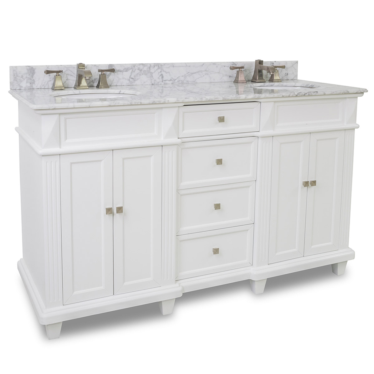 "Bathroom Vanities Double Sink 60 Inches 60"" jupiter double sink vanity - white - bathgems"