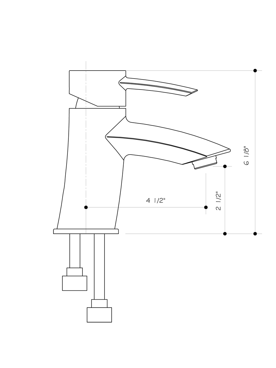 Single-Lever Chrome Faucet - Dimensions