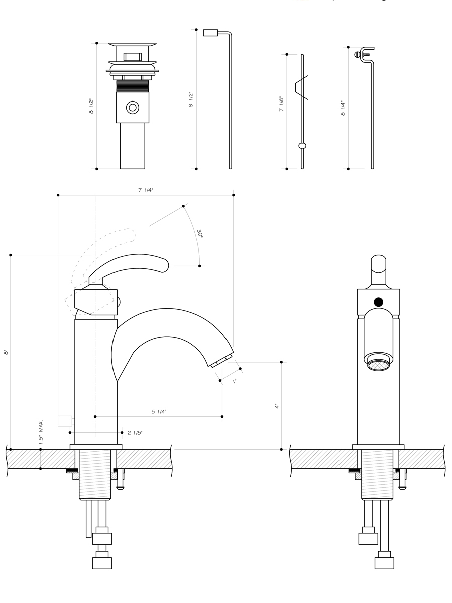 Single Lever Brushed Nickel Faucet - Dimensions