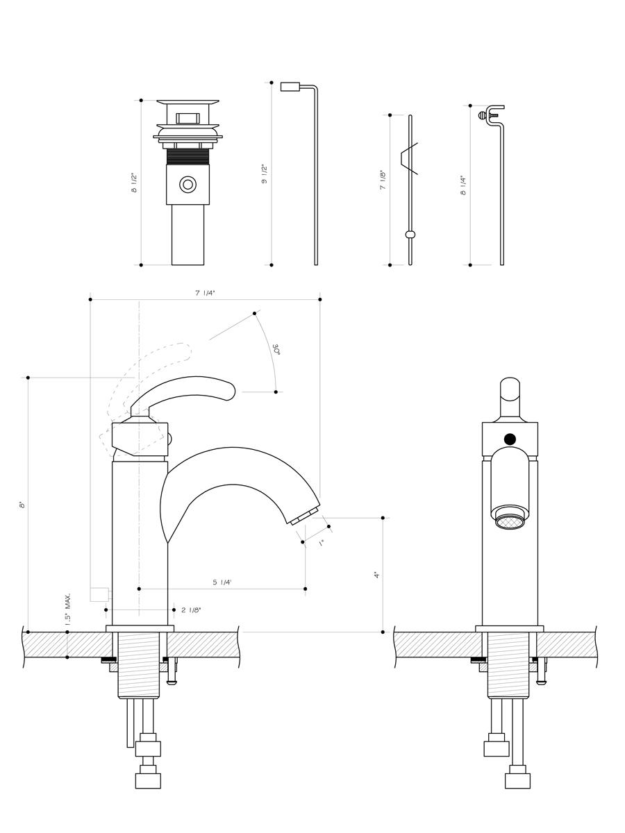 Single-Lever Chrome Faucet - Dimensions