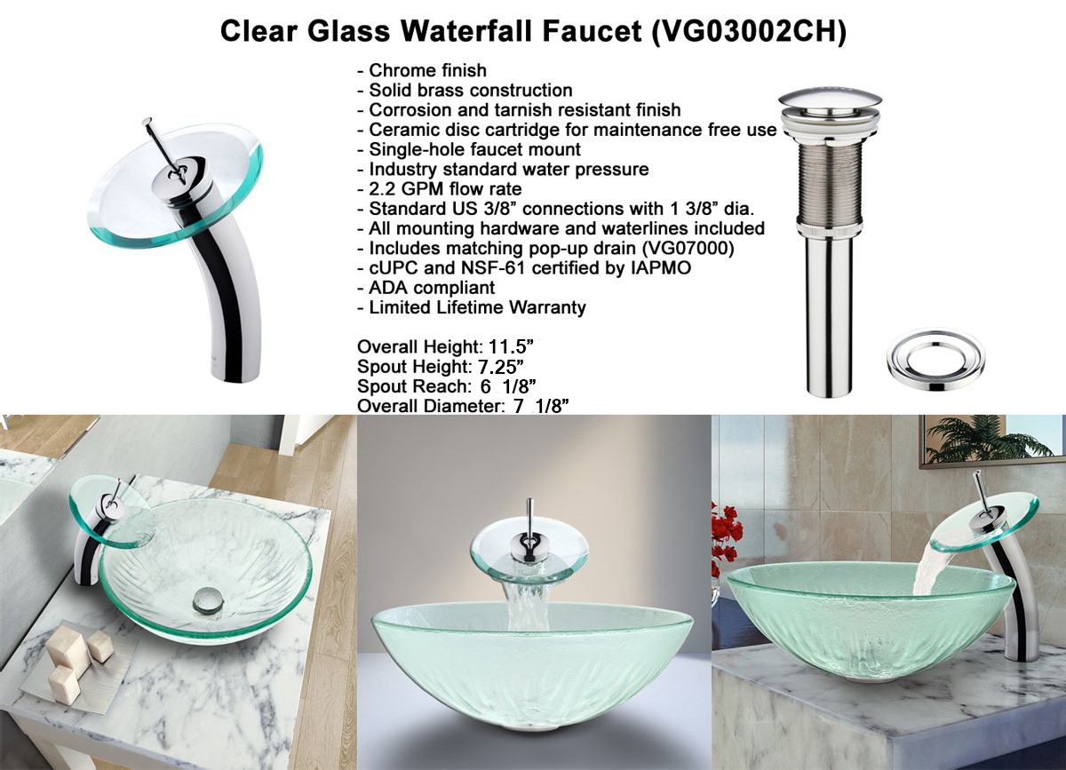 Faucet Option 2: Waterfall Faucet in Chrome (VGT034CHRND)