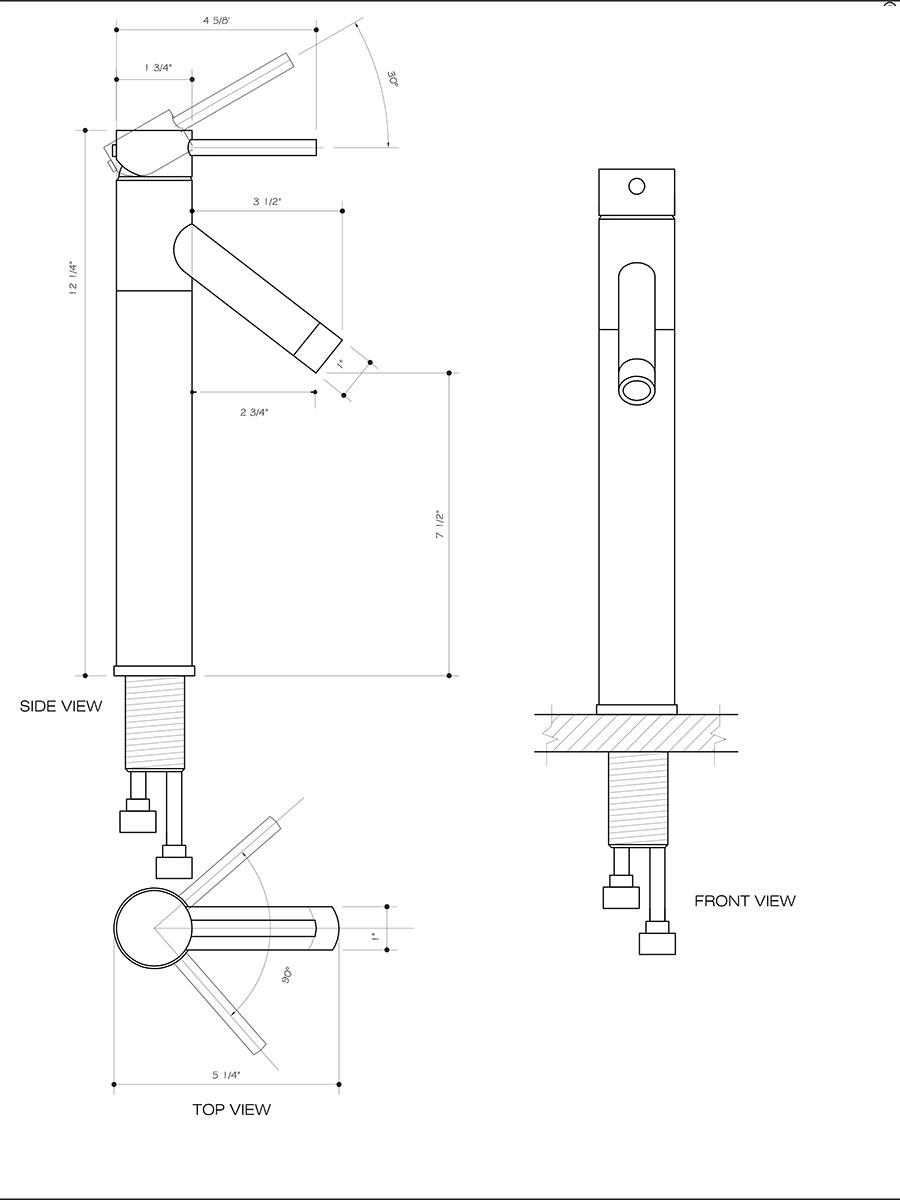 Chrome Vessel Faucet (VG03003) - Dimensions