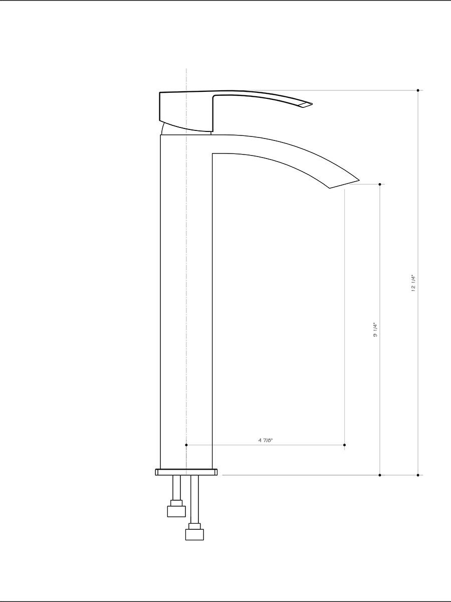 Chrome Vessel Faucet (VG03007CH) - Dimensions