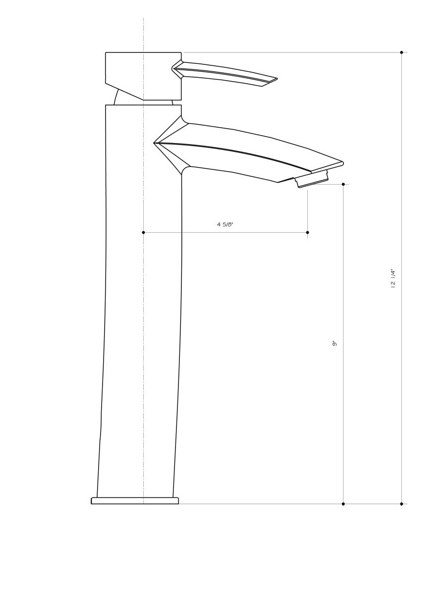 Dimensions of Vessel Faucet (VG03008)