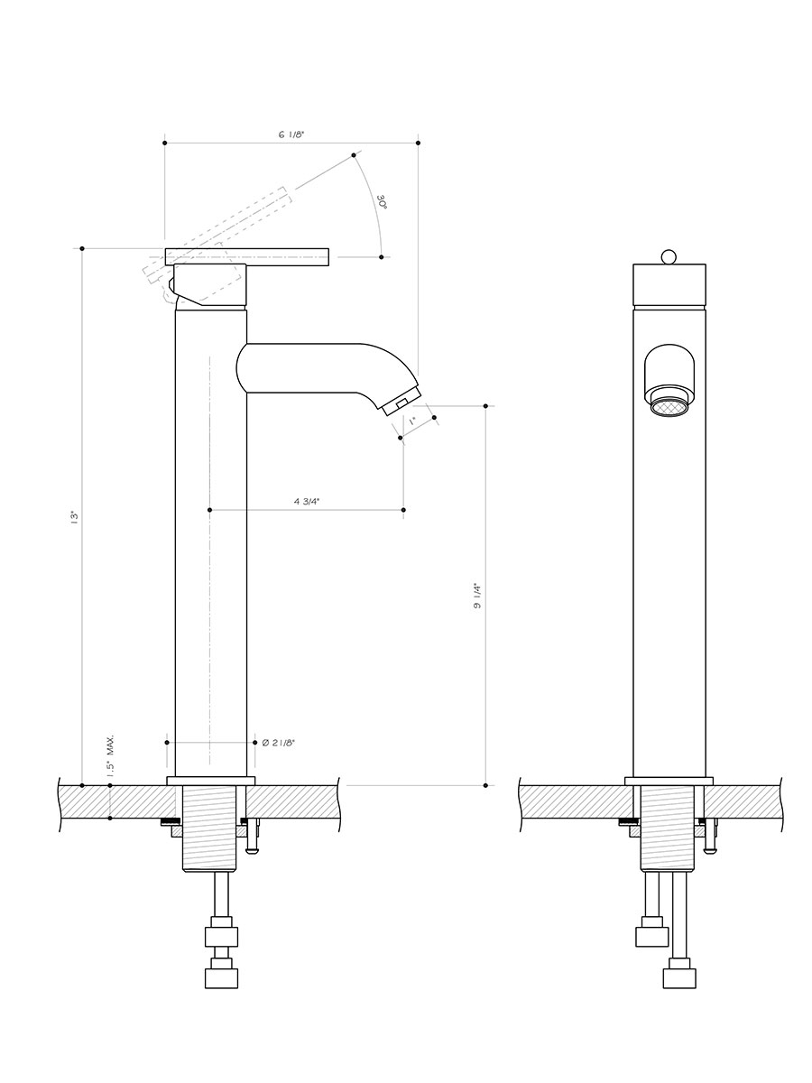 Dimensions of Brushed Nickel And Chrome Vessel Faucet