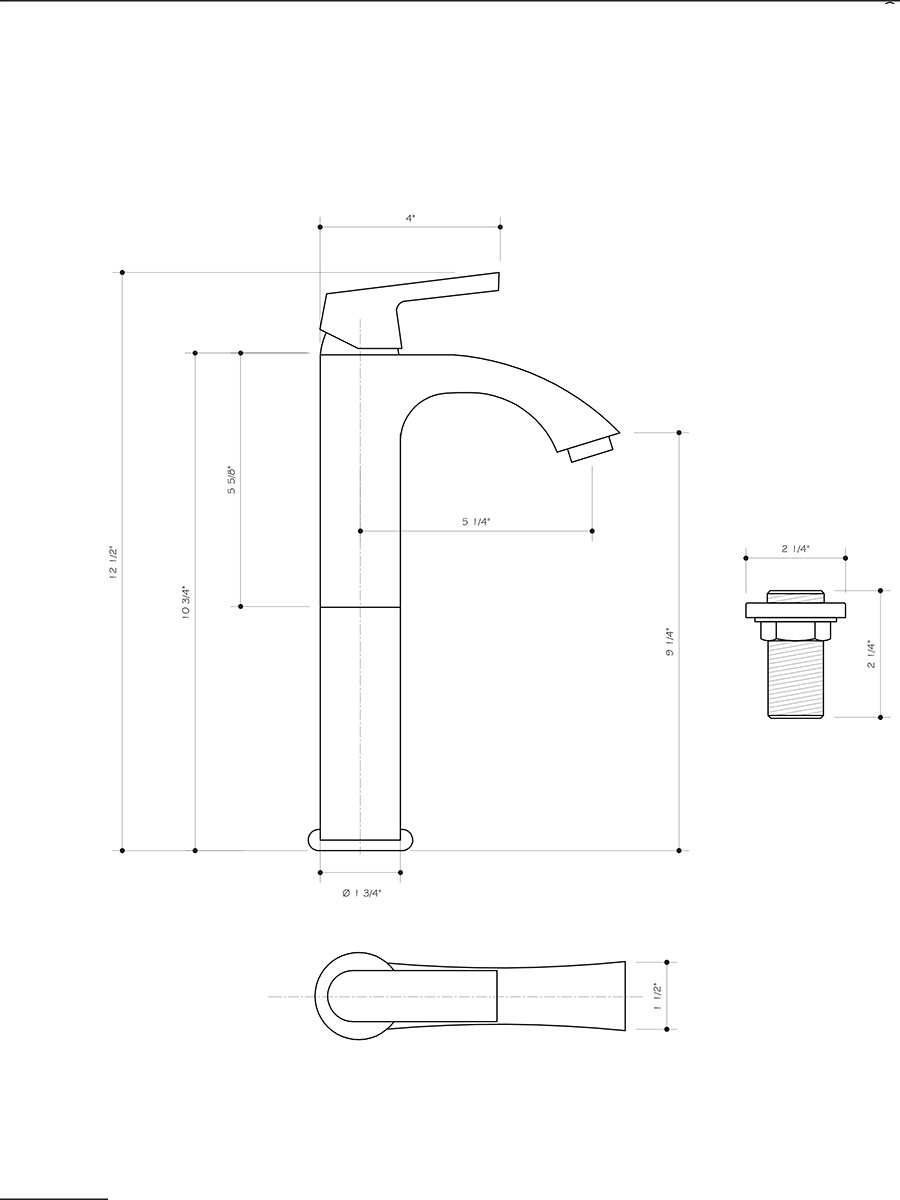 Vessel Faucet (VG03013) - Dimensions