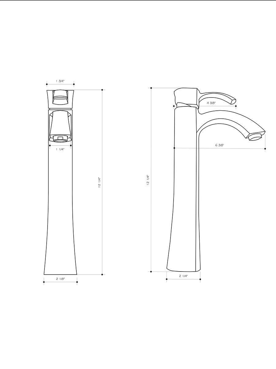 Otis Vessel Faucet - Dimensions
