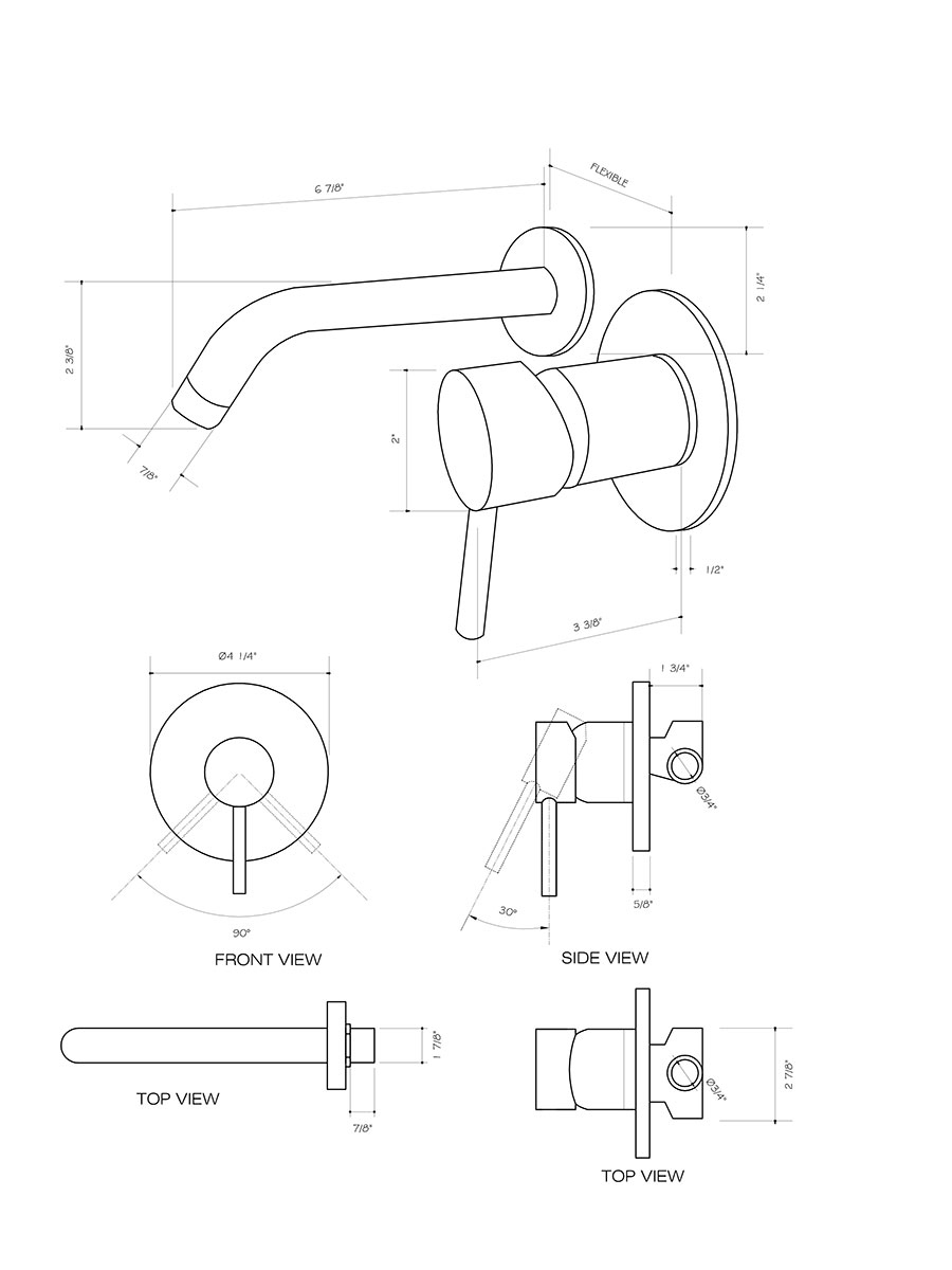 Wall Faucet (VG05001) - Dimensions