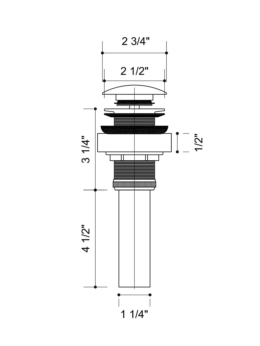 Dimensions For Pop-Up Drain Included In All Faucet Options