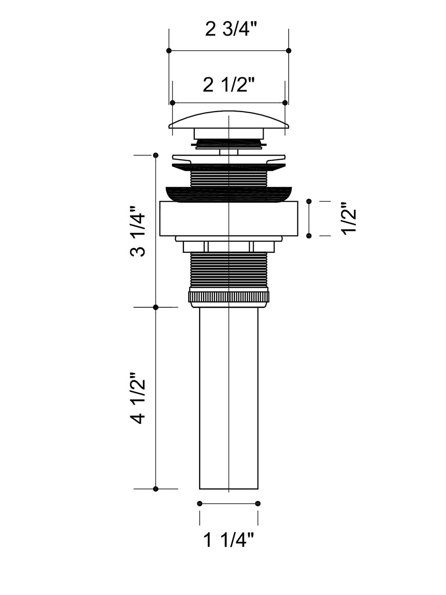 Dimensions For Chrome and Oil-Rubbed Bronze Vessel Faucet
