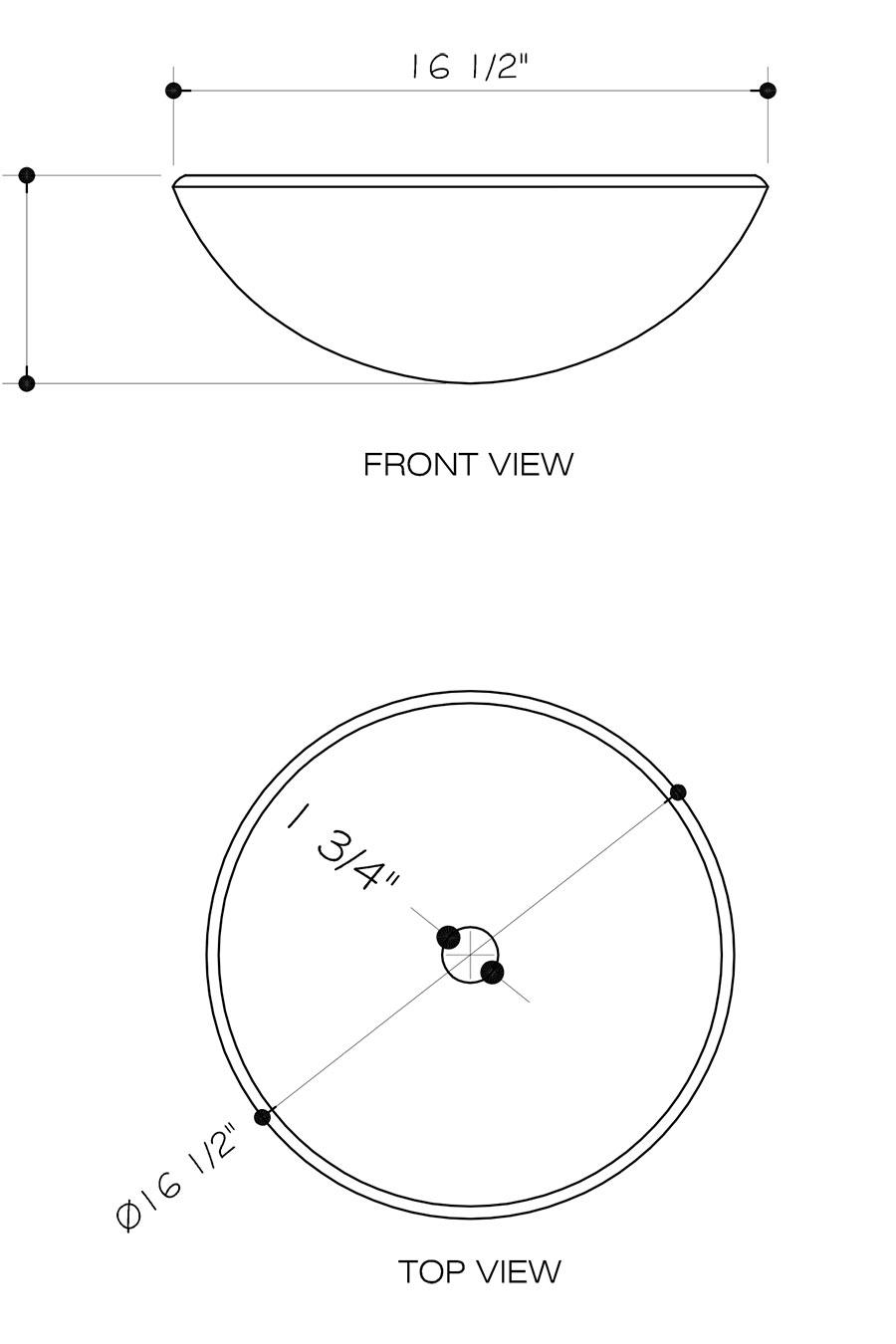 Dimensions For Auburn Mocha Fusion Vessel Sink