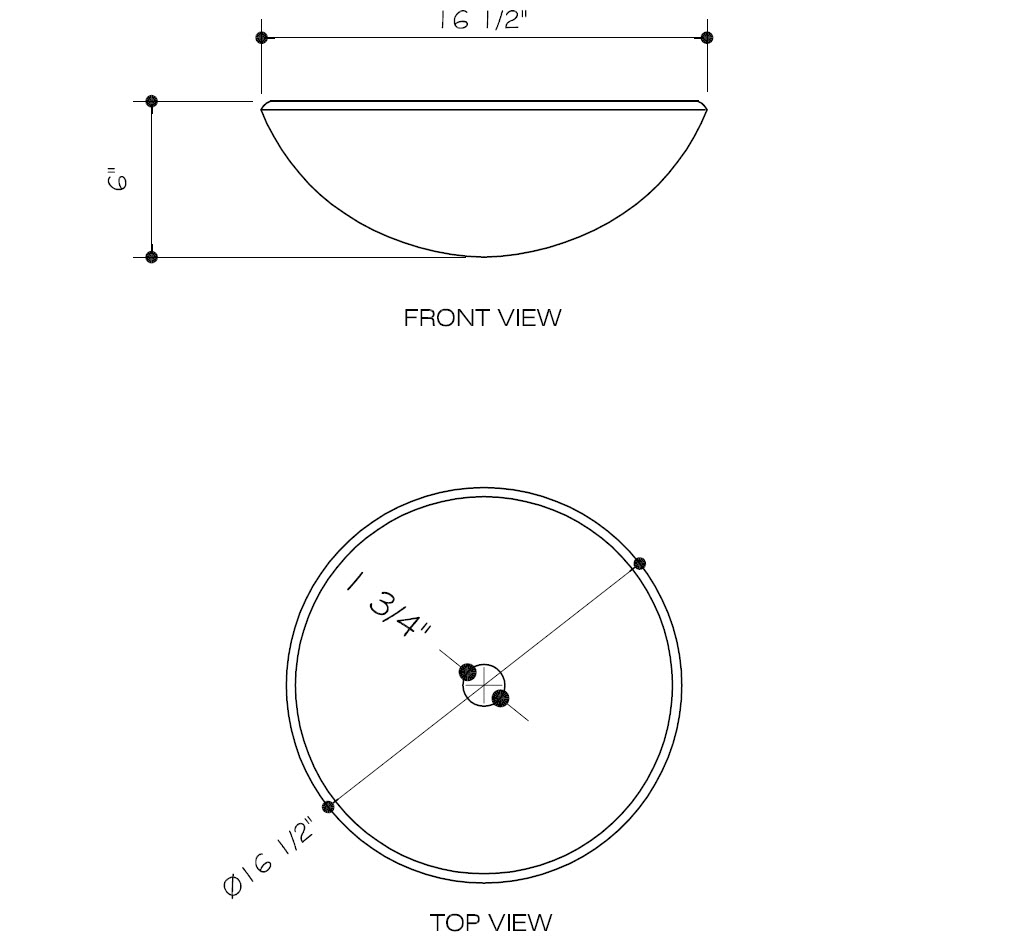 Dimensions for Copper Shapes Glass Vessel