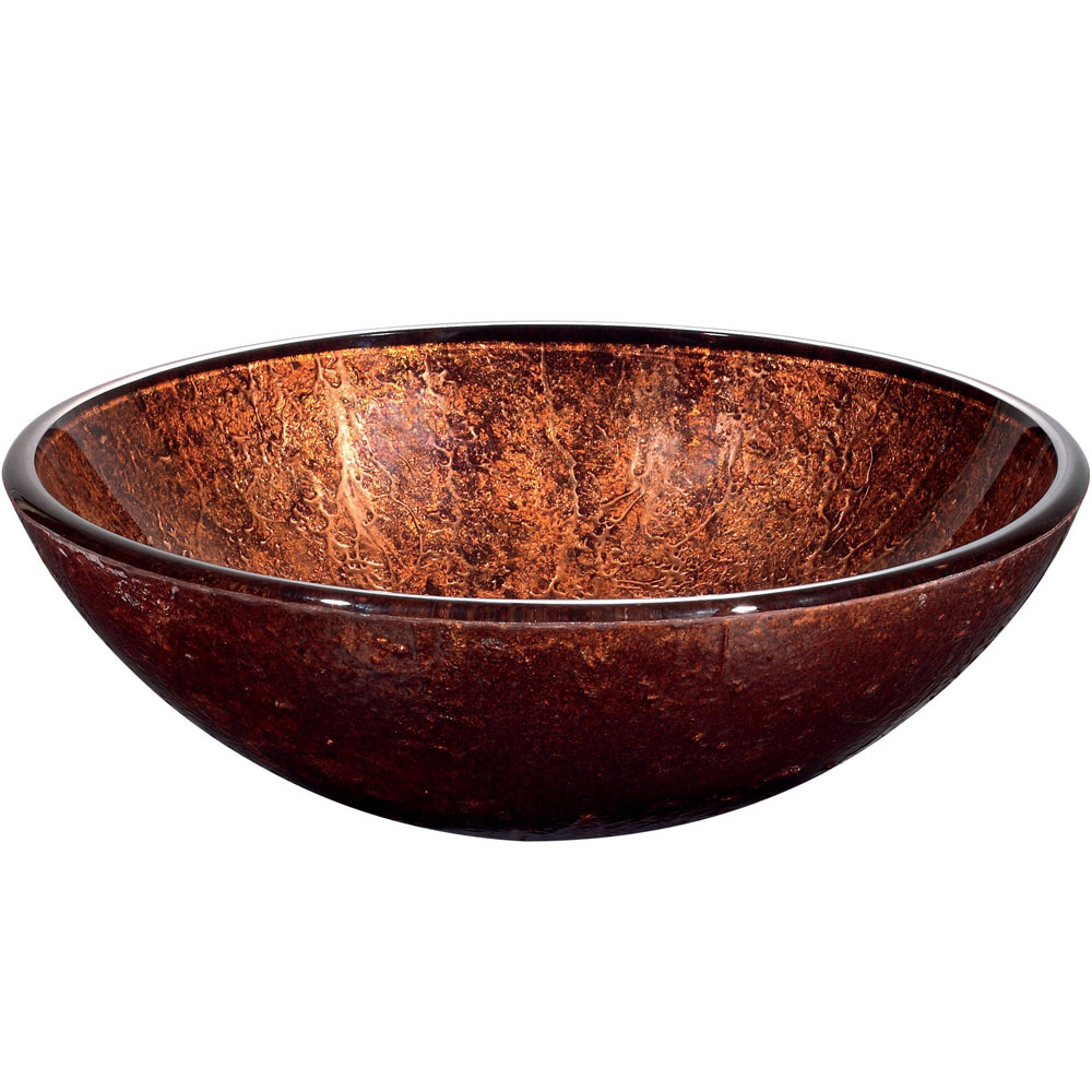 Side View of Mahogany Moon Vessel Sink