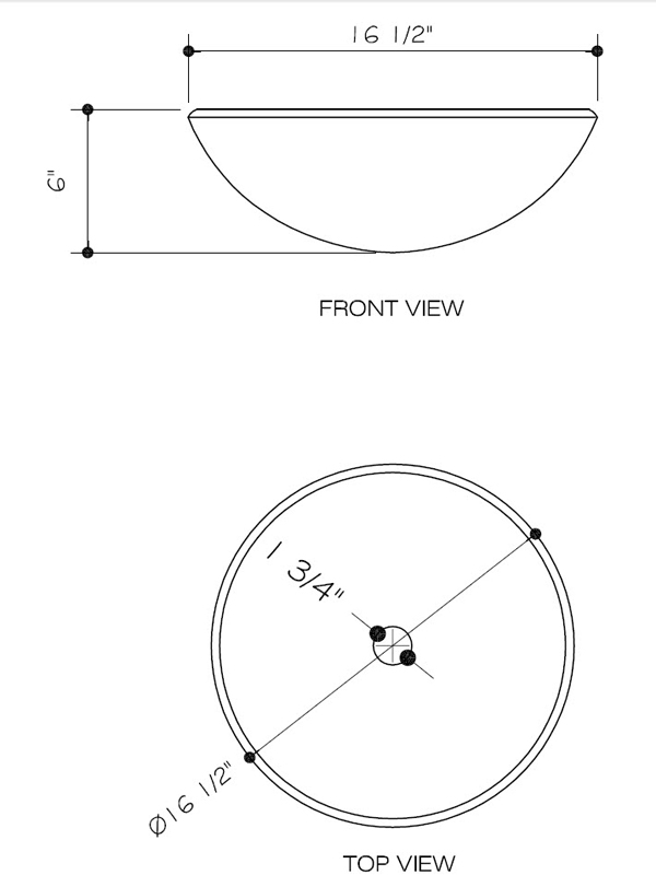 Dimensions for Mahogany Moon Vessel Sink