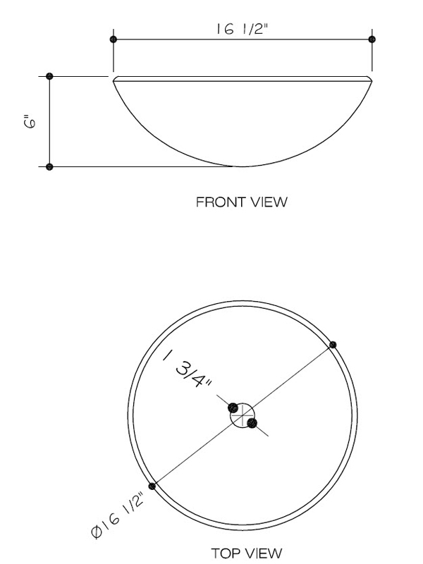 Dimensions for Zebra Vessel Sink