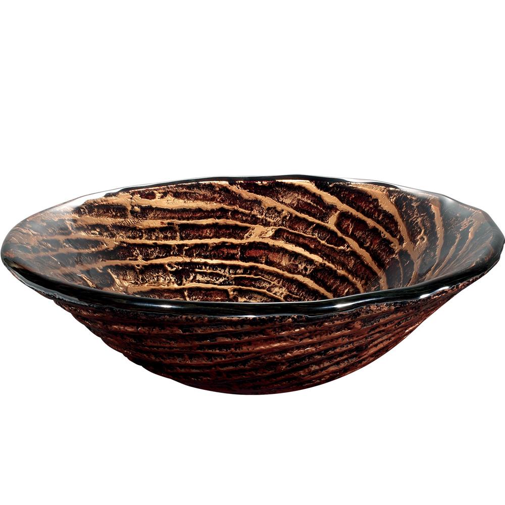 Chocolate Caramel Swirl Vessel Sink - Side View