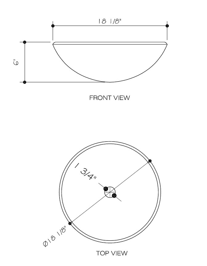 Dimensions for Chocolate Caramel Swirl Vessel Sink