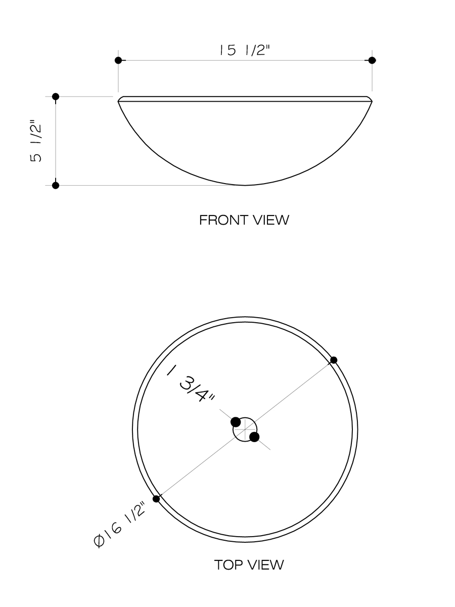 Phoenix Stone Glass Vessel Sink - Dimensions