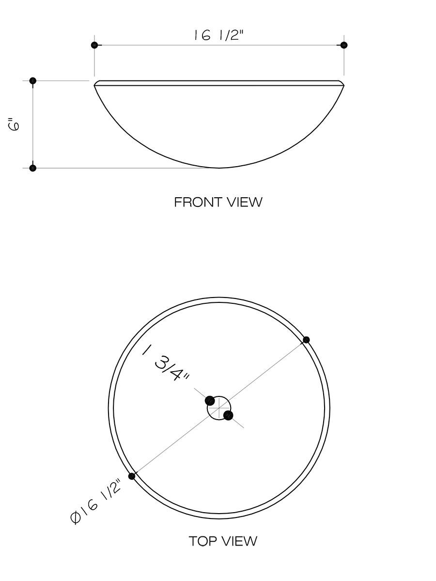 Sheer Black Glass Vessel Sink - Dimensions