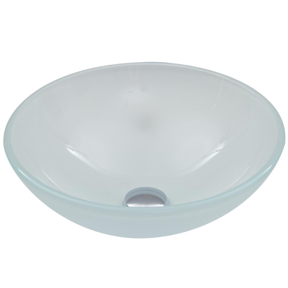 White Frost Glass Vessel Sink
