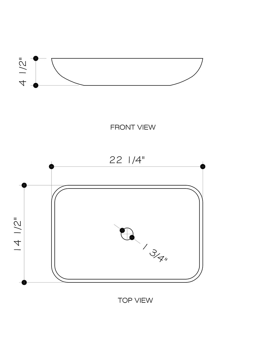 Rectangular Golden Greek Vessel Sink - Dimensions