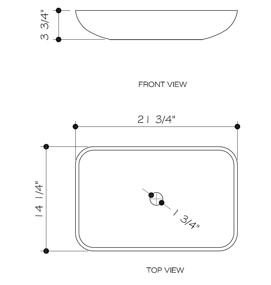 Dimensions for Rectangular Copper Vessel Sink