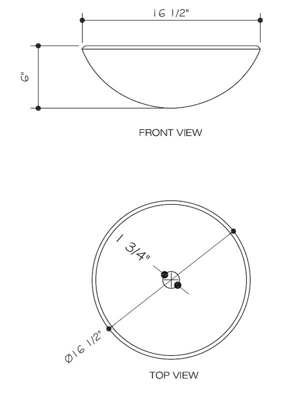 Dimensions for Sintra Vessel Sink